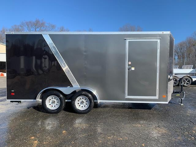 Covered Wagon  7' x 16' Charcoal/Black Enclosed Cargo Trailer