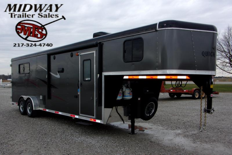 2021 Bison Trailers QuickDraw 7310 w 10' SW LQ GN Horse Trailer