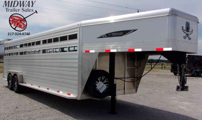 """2020 Titan Trailers 7'6"""" x 6'6"""" X 24' Aluminum Stock GN Horse Trailer"""