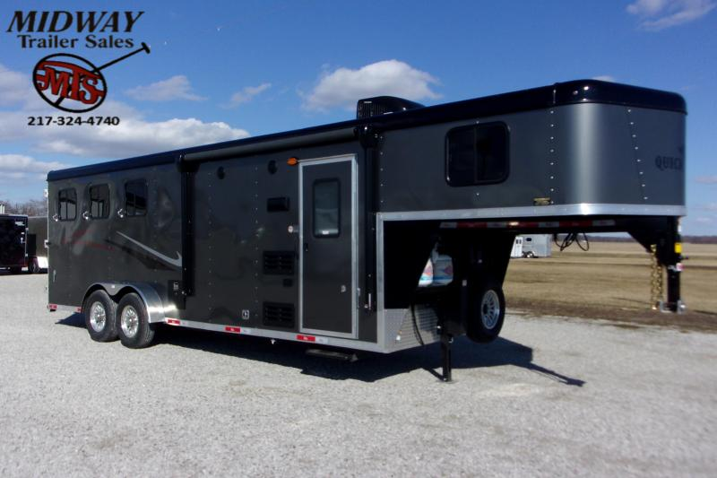 2021 Bison QuickDraw 7308 w/8' SW & LQ GN Horse Trailer