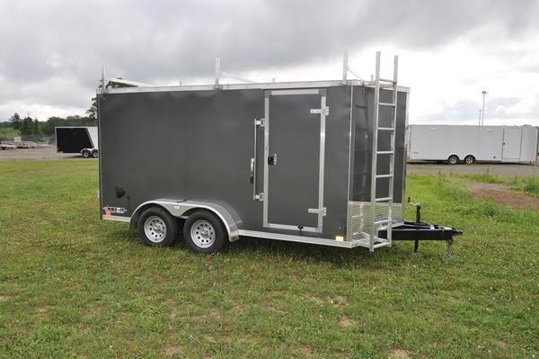 2020 Haul-it 7 x 14 Enclosed Cargo Construction Trailer W/Front Ladder and Ladder Racks for Sale