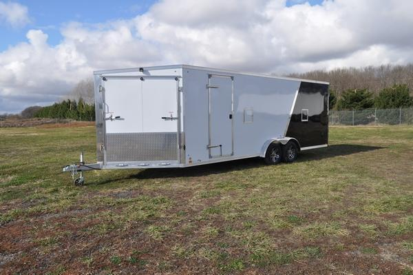 2021 Haul-it All Aluminum 7.5 x 27 Drive On/Off 7' Tall Snowmobile Trailer For Sale