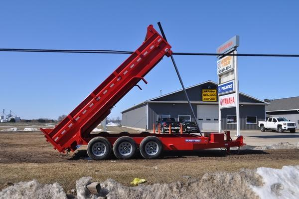 "2021 Sure-Trac 82"" x 16' Triple Axle Powder Coated RED Dump Trailer"