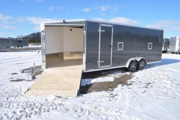 2021 Haul-it All Aluminum 7.5 x 27 Inline 7' Tall Snowmobile Trailer For Sale