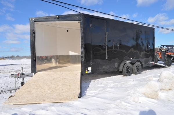 2021 Haul-it All Aluminum 7.5' x 23' Black Out Enclosed Snowmobile Trailer