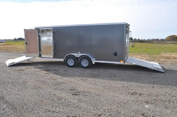 2021 Haul-it All Aluminum 7 x 23 3 Place Enclosed Snowmobile Trailer