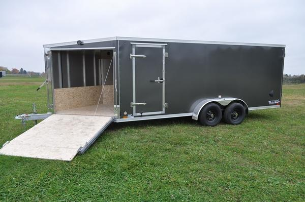 2021 Haul-it All Aluminum 7 x 23 Inline Drive On/Off Snowmobile Trailer For Sale