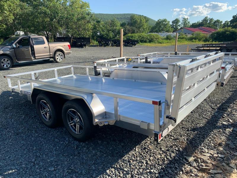 2021 SURE-TRAC 7x14 7k Aluminum Utility Trailer - Aluminum Deck - Aluminum Wheels - Bi Fold Ramp - Spare Tire Mount - ST8214TAT-A-070