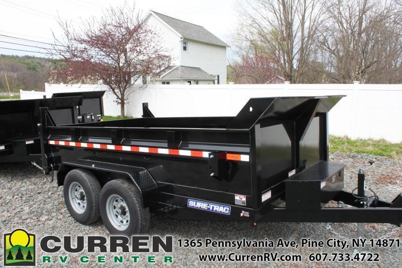 2021 SURE-TRAC 7X12 12k HD Low Profile Dump Trailer - Scissor Lift - Drop Leg Jack - Under Bed Storage - Tarp Kit - Combo Gate - Ramps - ST8212HLOD-B-120
