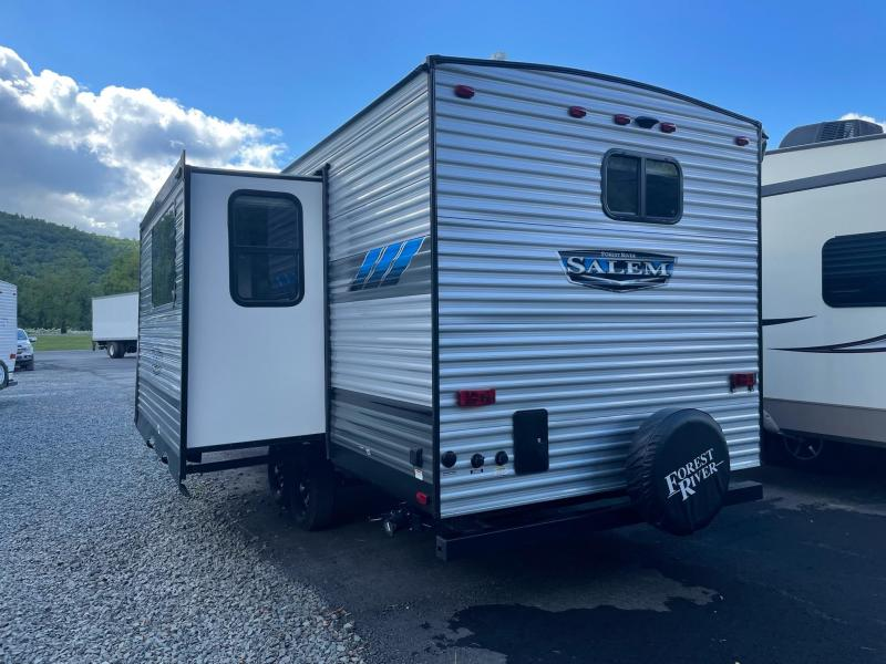 2022 Forest River SALEM 22RBS Travel Trailer - Large Rear Bath - 8 ft Chaise Lounge - Fireplace