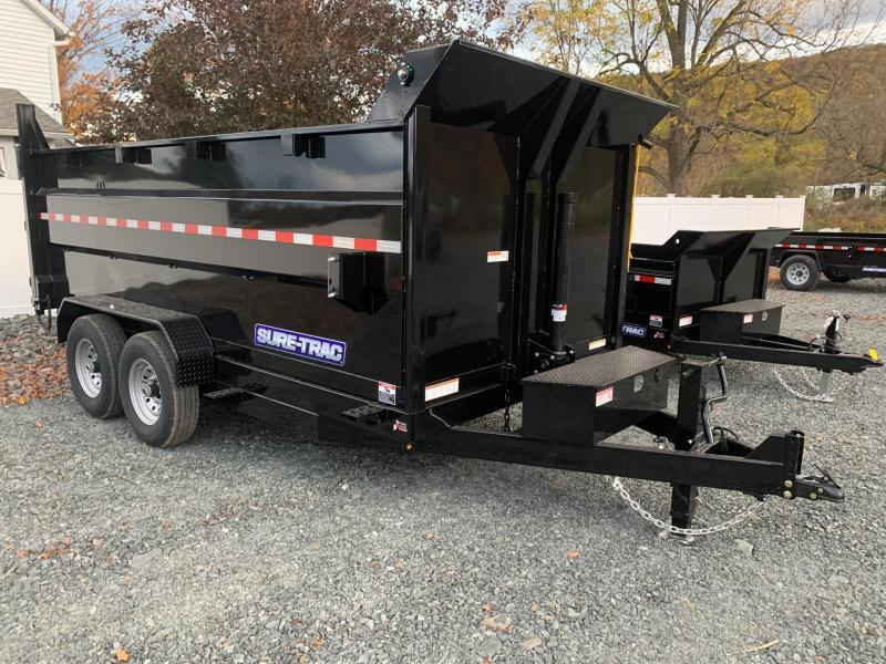 2021 SURE-TRAC 7x14 14k Telescopic Hoist Dump Trailer with 4 ft Tall Sides - 12k Jack Drop Leg Jack - Ramps - Battery Charger - ST8214TLDD4-B-140