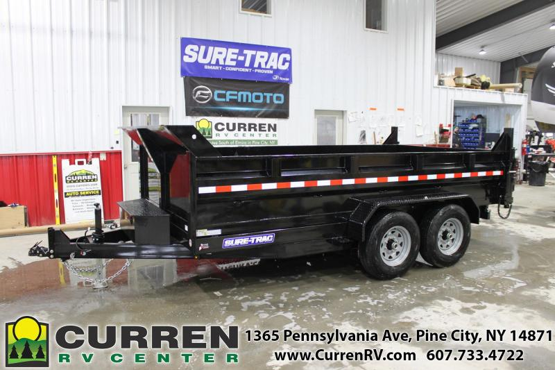 2021 SURE-TRAC 7X14 14k HD Low Profile Dump Trailer - Scissor Lift - Drop Leg Jack - Under Bed Storage - Tarp Kit - Combo Gate - Ramps - ST8214HLOD-B-140