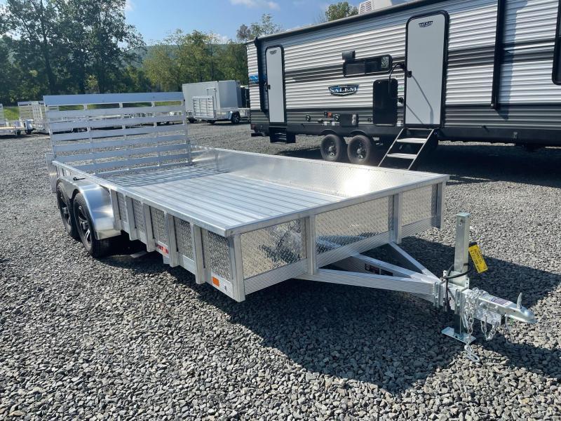 2022 SPORT HAVEN 7x16 7k Aluminum Tube Top Utility Trailer with ATP Sides - Aluminum Deck - Aluminum Wheels - AUT716TDS