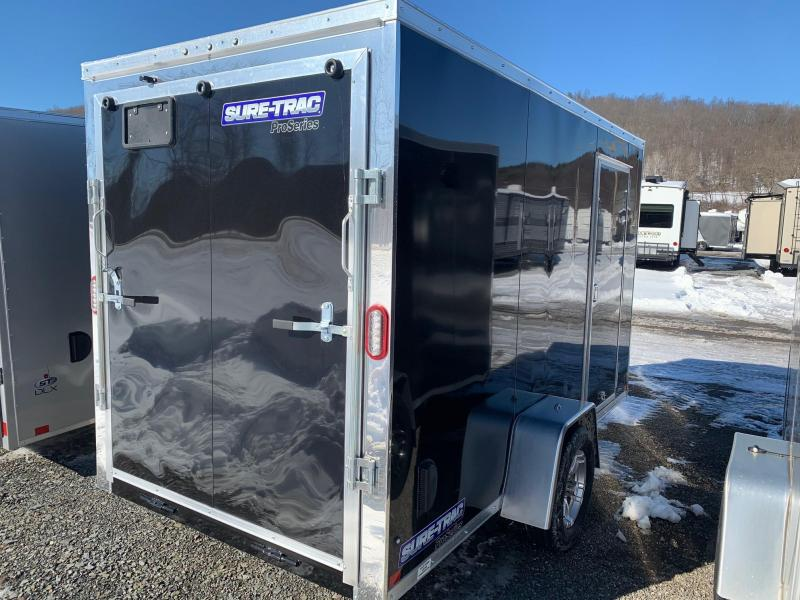 2021 SURE-TRAC 6x12 3k PRO SERIES WEDGE NOSE Cargo / Enclosed Trailer - Ramp - Aluminum Wheels - RV Style Side Door - LED Lights - Aluminum H Trim Sidewalls - STW7212SA