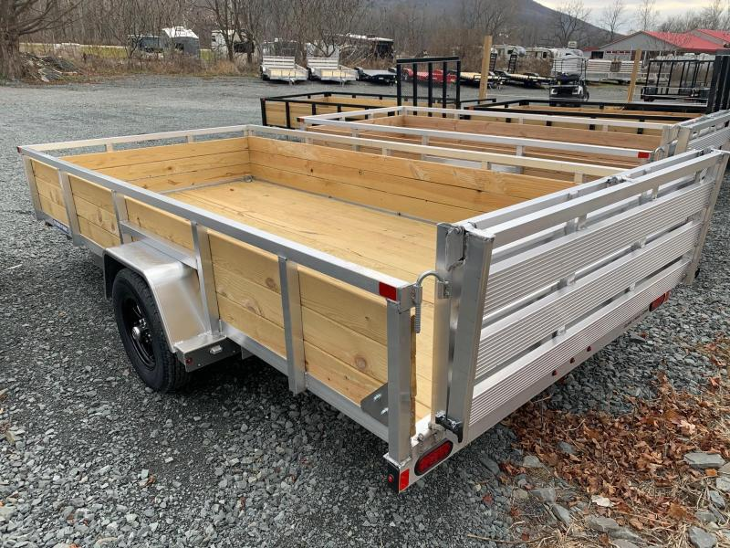 2021 SURE-TRAC 7x14 3k Aluminum Utility Trailer with 3 Board High Sides - Aluminum Wheels - Bi Fold Ramp - ST8214WS-A-030