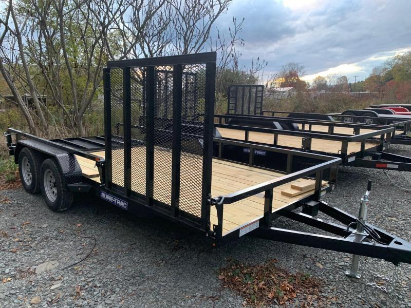 2021 SURE-TRAC 7x16 7k Tube Top Utility Trailer - with Side Ramp - ST8216TAT-B-070