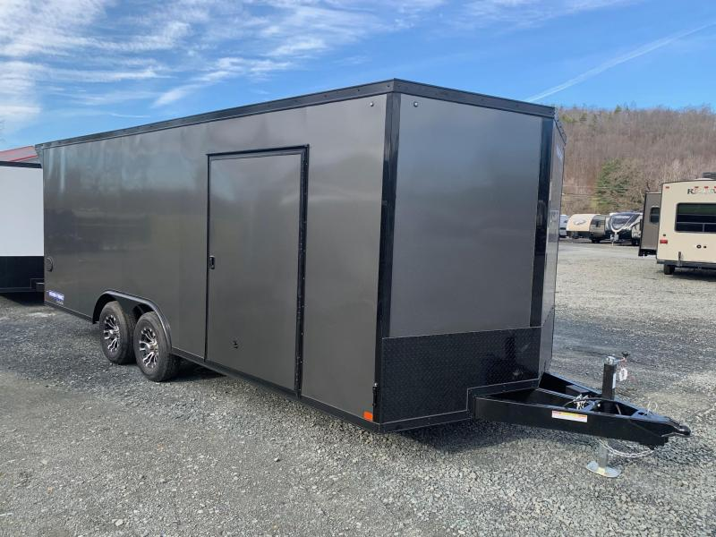 2021 SURE-TRAC PRO SERIES 8.5X20 10K ENCLOSED WEDGE CAR HAULER - CHARCOAL WITH BLACKOUT TRIM - 4100 LB RAMP - ALUMINUM WHEELS - TOP OF THE LINE QUALITY - STWCH10220TA-100