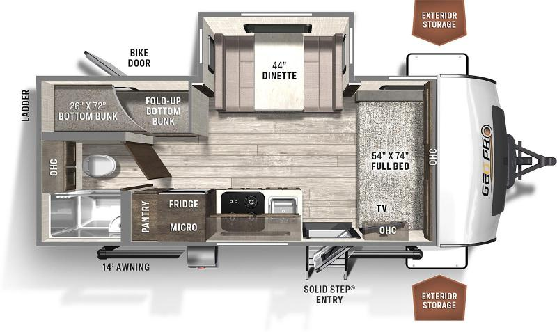 2021 Forest River ROCKWOOD GEO PRO 20BHS Travel Trailer