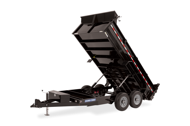 2021 SURE-TRAC 7x12 12k HD Low Profile Dump Trailer with Dual Rams - Ramps & Tarp Kit - ST8212DD-B-120