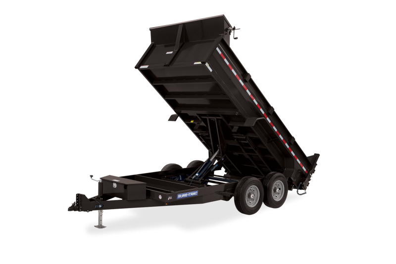 2021 SURE-TRAC 7x12 12k HD Low Profile Dump Trailer with Scissor Lift - Ramps & Tarp Kit - ST8212HLOD-B-120