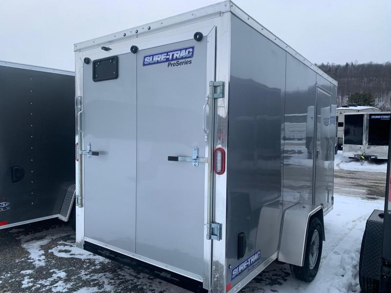 2021 SURE-TRAC 6x12 3k PRO SERIES WEDGE Nose Cargo / Enclosed Trailer - Ramp Door - Aluminum Wheels - Plywood Walls - Tube Framed Walls - STW7212SA