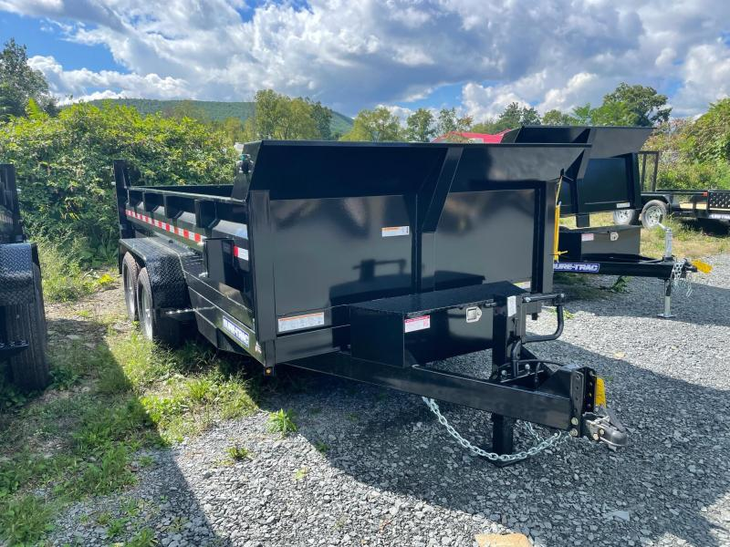 2022 SURE-TRAC 7x14 14k Low Profile Dump Trailer - Scissor Lift - Ramps - Combo Gate - Tarp Kit - Bulkhead - D-Rings - Stake Pockets - Tool Tray - ST8214HLOD-B-140
