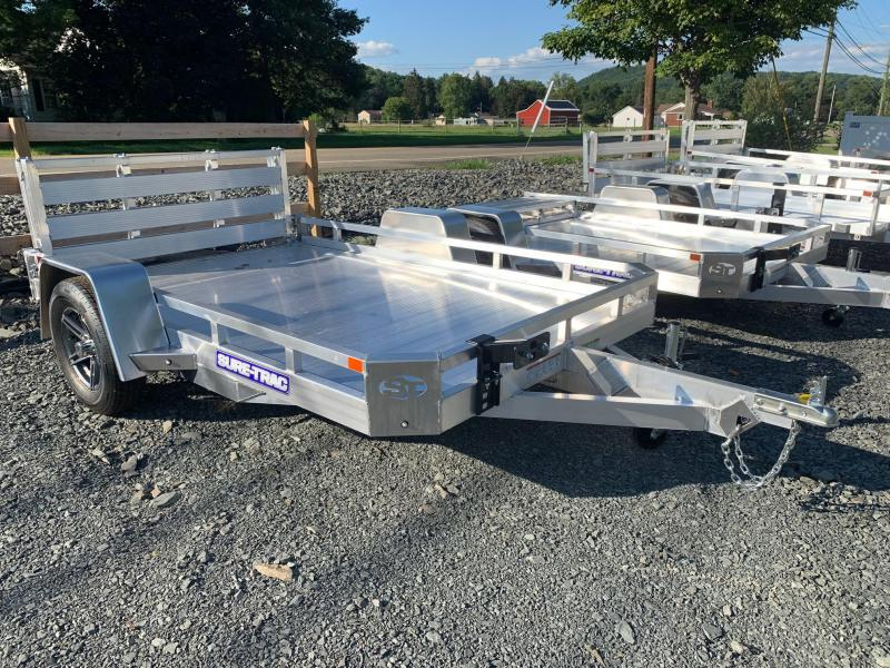 2021 SURE-TRAC 7x10 3k Aluminum Utility Trailer - Aluminum Deck - Aluminum Wheels - Bi Fold Ramp - Spare Tire Mount - ST8210LS-A-030