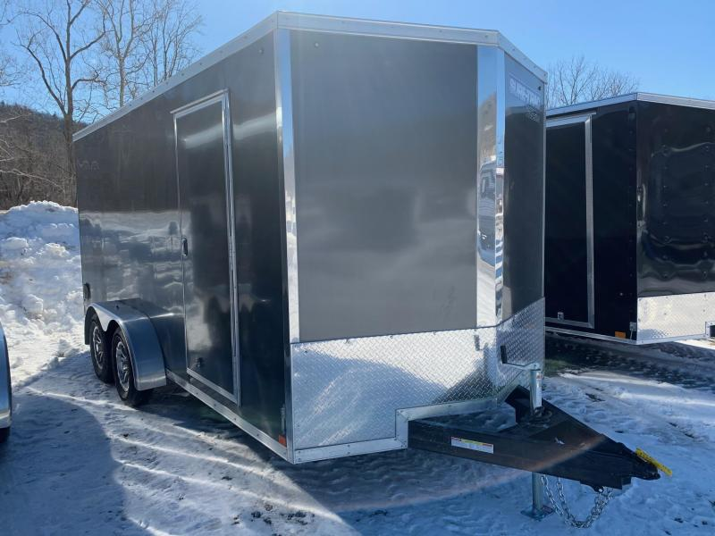2021 SURE-TRAC 7x16 7k PRO SERIES WEDGE NOSE Cargo / Enclosed Trailer - Ramp - Screwless Exterior - RV Style Side Door - Aluminum Wheels - Plywood Walls - Aluminum H Trim Walls - LED Lights - STW8416TA