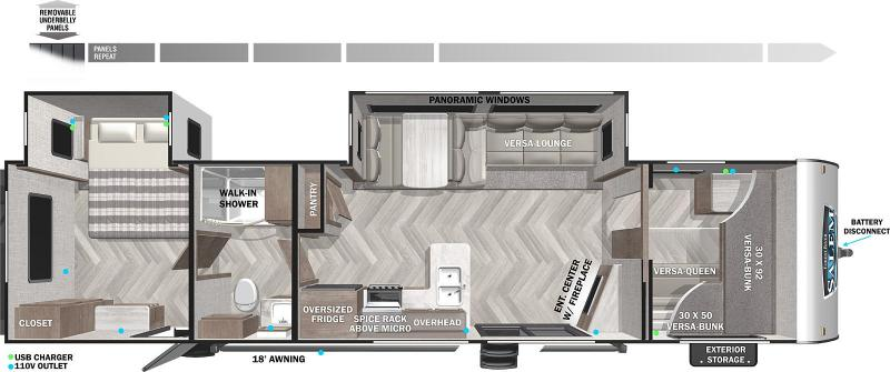 2021 Forest River SALEM 36VBDS Travel Trailer - Sliding Glass Door - Bunks - Versa Lounge - Fireplace - Power Awning - Large Residential Fridge - One Owner