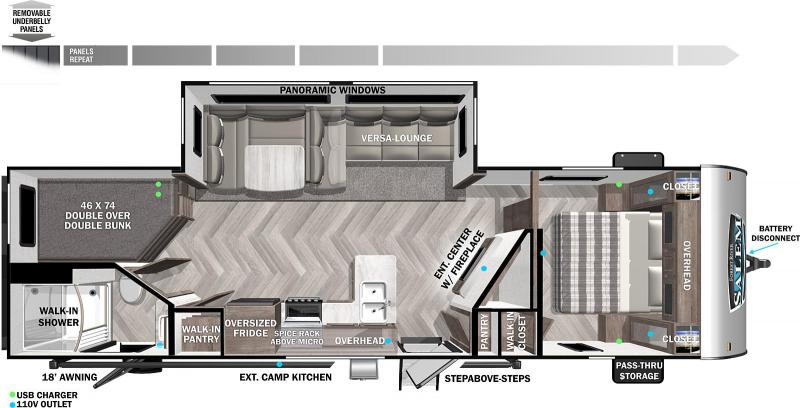 2022 Forest River SALEM 26DBUD Travel Trailer - Bunkhouse - 2 Entry Doors - Fireplace - Outside Kitchen - Lots of Storage - Versa Lounge