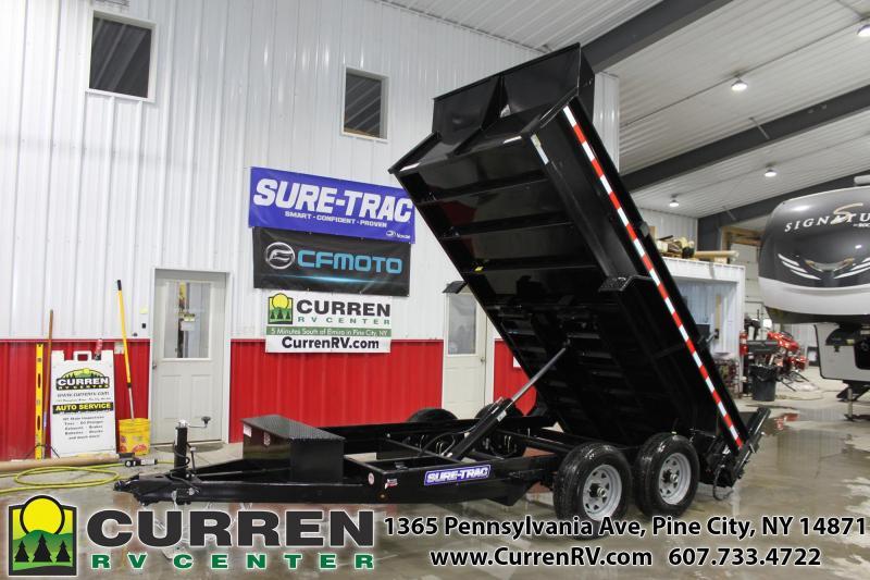 2021 SURE-TRAC 6x12 10k Dump Trailer - Low Profile - Ramps - D-Ring Tie Downs - Drop Leg Jack - Bulkhead - Combo Gate - ST7212D1R-B-100