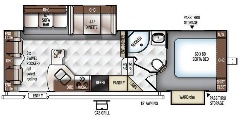 2018 ROCKWOOD ULTRA LITE 2720WS Fifth Wheel Camper - Rear Living Room - Half Ton Towable - 8,976 lb GVWR - One Owner