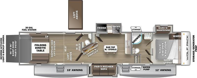 2022 CHEROKEE WOLF PACK 355PACK14 Fifth Wheel Toy Hauler - Large 16 cu ft Refrigerator - Dual 15k ACs - Yamaha 5500 Watt Generator - 30 Gallon Fuel Station - 96 Gallon Fresh Water - King Bed