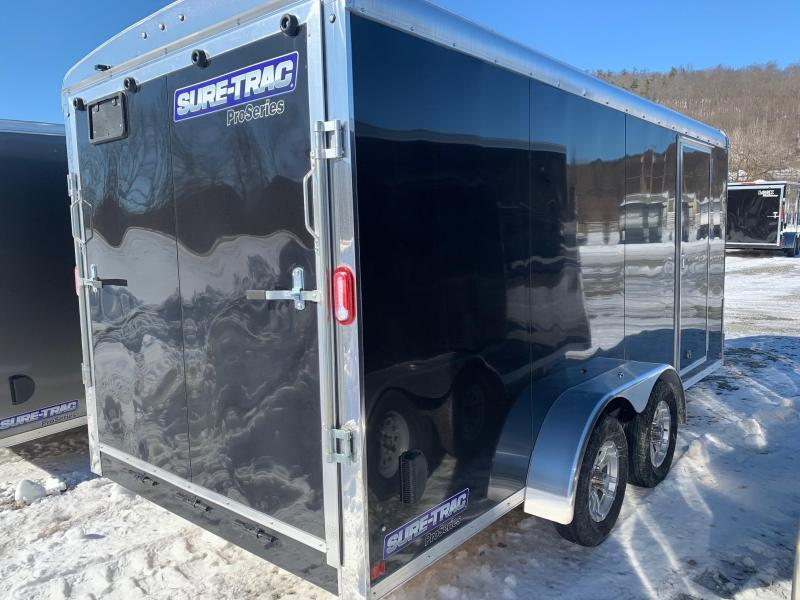 2021 SURE-TRAC 7X16 7K PRO SERIES ROUND TOP Cargo / Enclosed Trailer - Screwless Exterior -  Thermoply Ceiling Liner - RV Style Side Door - Plywood Walls - Aluminum H Trim Walls - LED Lights - Aluminum Wheels - STR8416TA