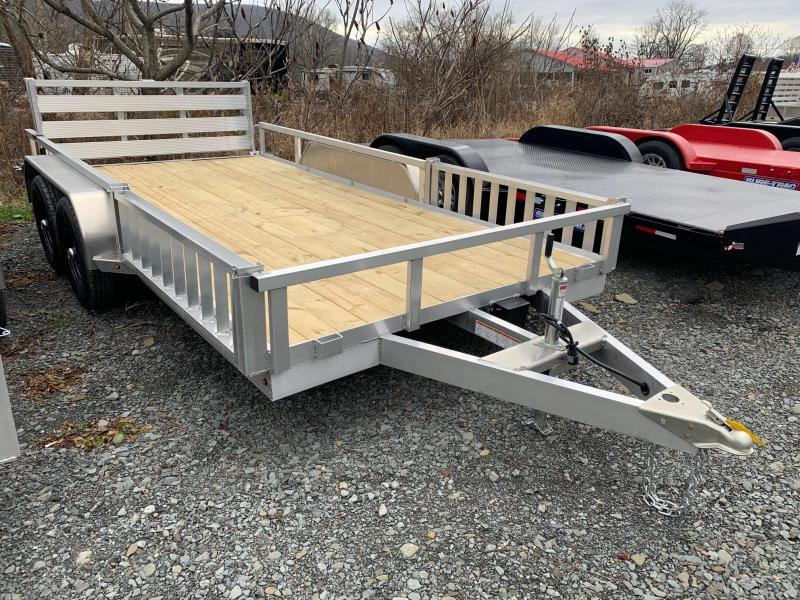 2021 SURE-TRAC 7x14 7k Aluminum ATV Utility Trailer - Bi Fold Rear Ramp - ATV Side Ramps - Aluminum Wheels - ST8214TAT-A-070