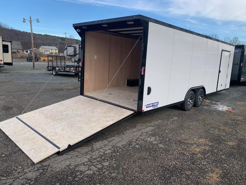 2021 SURE-TRAC PRO SERIES 8.5X24 10K ENCLOSED WEDGE CAR HAULER - WHITE WITH BLACKOUT TRIM - 4100 LB RAMP - ALUMINUM WHEELS - TOP OF THE LINE QUALITY - STWCH10224TA-100