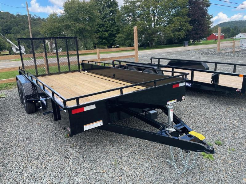 2022 SURE-TRAC 7x16 7k Steel High Side Utility Trailer - Tube Top Construction - Setback Jack - Spare Tire Mount - D-Rings - Reinforced Tongue - Protected Wiring - Spring Assist Ramp - ST8216HSAT-B-070