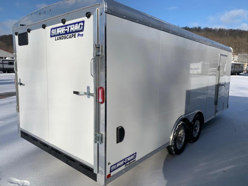 2021 SURE-TRAC 8.5x20 10k LANDSCAPE PRO ROUND TOP Cargo / Enclosed Trailer - HD 5250 lb Ramp Door - Fold Down Work Bench / Shelf - Trimmer Mounting Brackets - Aluminum Wheels - STRLP10220TA-100