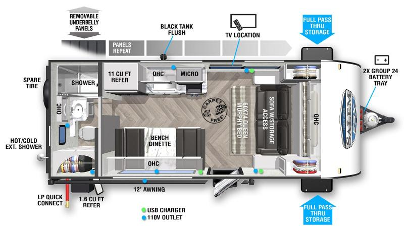 2022 SALEM FSX 167RBK Travel Trailer - Couples Coach - Murphy Bed - Outside Fridge - Full Pass Thru Storage - 3100 lbs