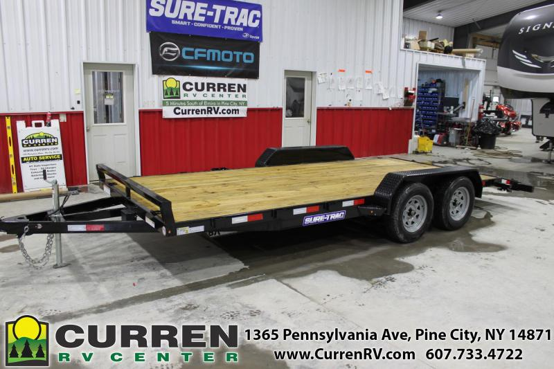 2021 SURE-TRAC 7x18 7k Car Hauler Trailer - Ramps - D-Rings - Setback Jack with Reinforced Tongue - ST8218CHW-B-070